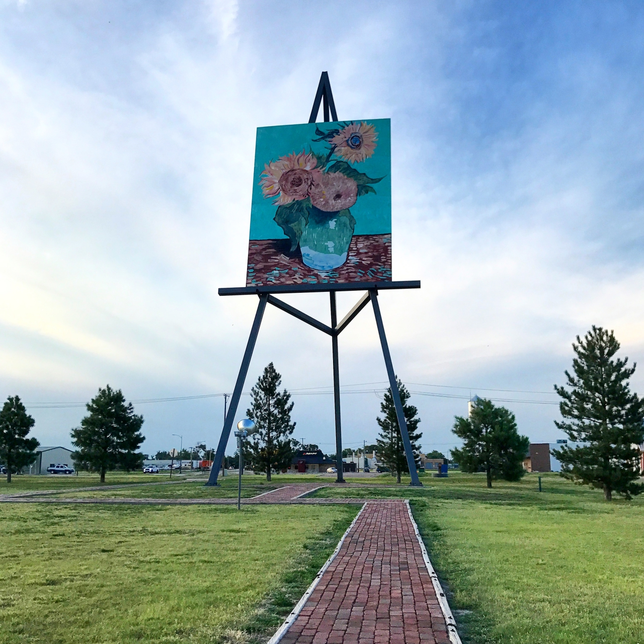 World's Tallest Easel in Goodland, Kansas, with Van Gogh's Sunflowers painted on it