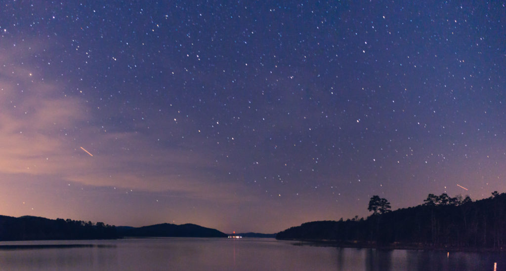 the night sky over Lake Ouachita State Park in Arkansas