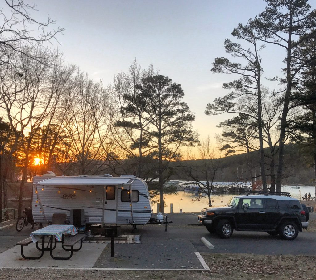 campsite in Area B in Lake Ouachita State Park