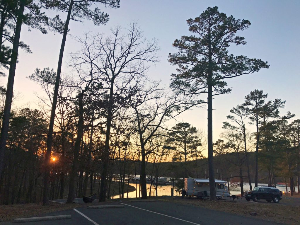 a campsite in Area B in Lake Ouachita State Park in Arkanasas